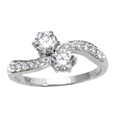 Ice 1/2 CT TW Diamond 14K White Gold 2-Stone Ring by Moda Di Oro
