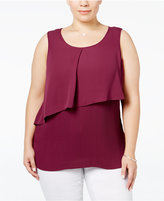 NY Collection Plus Size Pleated Popover Tank Top