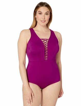 City Chic Women's Apparel Women's Plus Size Block Colour one-Piece with lace up Front