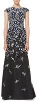 Carolina Herrera Floral Patchwork Cap-Sleeve Gown, Black/Navy