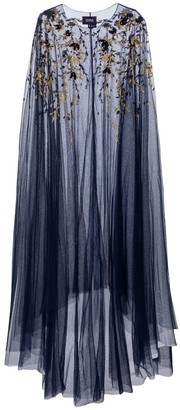 Marchesa Notte Embroidered tulle cape