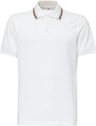 Brunello Cucinelli Striped Collar Polo Shirt