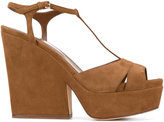 Sergio Rossi t-bar wedged sandals - women - Leather/Suede - 36.5