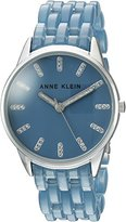 Anne Klein Women's AK/2617BLSV Glitter Accented Silver-Tone and Denim Blue Transparent Resin Bracelet Watch