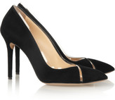 Charlotte Olympia Natalie PVC-trimmed suede pumps