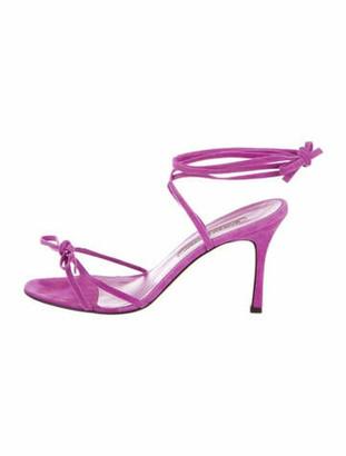 Manolo Blahnik Suede Bow Accents Sandals Purple