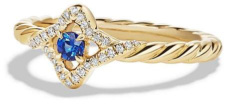 David Yurman Venetian Quatrefoil Ring with Blue Sapphire and Diamonds in 18K Gold