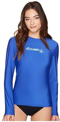 O'Neill Basic Skins Long Sleeve Rash Tee (Tahitian Blue) Women's Swimwear