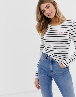 Only stripe long sleeve t-shirt-Blue