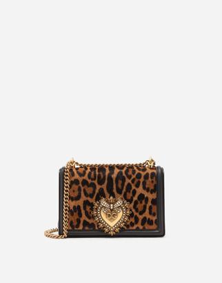 Dolce & Gabbana Medium Devotion Bag In Leopard-Print Pony Hair