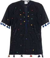 Thierry Colson Pompom Garden-embroidered cotton top