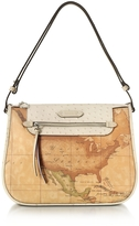 Alviero Martini Australia Geo Printed Hobo Bag w/Cream Ostrich Print Leather Details