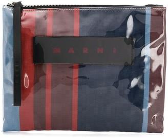 Marni Striped Logo Clutch Bag