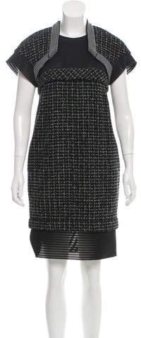 Chanel Neoprene-Paneled Tweed Dress
