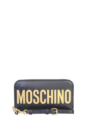 Moschino Logo Print Zip Around Wallet