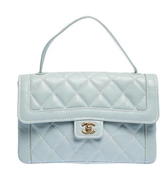 Chanel Powder Blue Wild Stitch Leather Flap Top Handle Bag