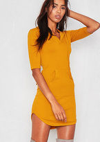Missy Empire Nada Mustard Jersey Pocket Hoodie Curve Hem Dress
