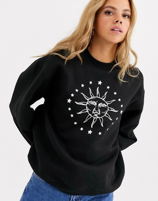 Daisy Street relaxed sweatshirt with solstice print