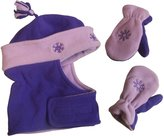 N'Ice Caps TM N'Ice Caps Girls Snowflake Embroidered Wrap Around Hat and Mitten Set