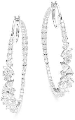 Adriana Orsini Silvertone Cubic Zirconia Scattered Hoop Earrings