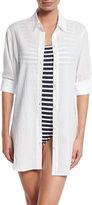 Tommy Bahama Crinkled-Cotton Boyfriend Coverup Shirt
