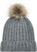 Accessorize Ribbed Flecked Pom Beanie Hat