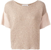 Fabiana Filippi knitted detail top - women - Cotton/Goat Suede - 40