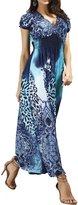 William&Lisa Women's Plus size Colorful Leopard print Deep-V Short sleeve Maxi Dress(5 colors)