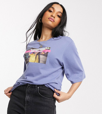 Noisy May Petite oversized knot t-shirt in blue