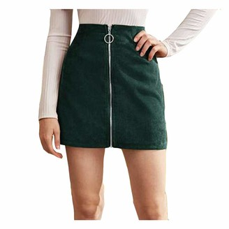Uulike Women Dress UULIKE Women Short Leather Skirts Sexy Lace Uniform Pure Color High Waist Elastic Pleated Slim Mini Skirt Leisure Holiday Evening Party Club Cocktail Beach Dresses for Ladies Green