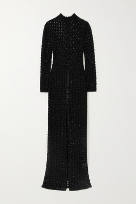 retrofete Poppy Embellished Crochet-knit Tunic - Black
