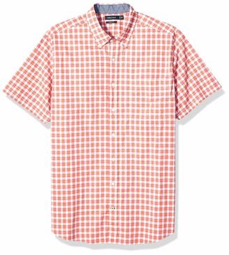 Nautica Men's Big Classic Fit Short Sleeve Stretch Gingham Button Down Shirt