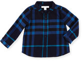 Burberry Fred Mini Long-Sleeve Check Shirt, Navy, Size 6M-3Y