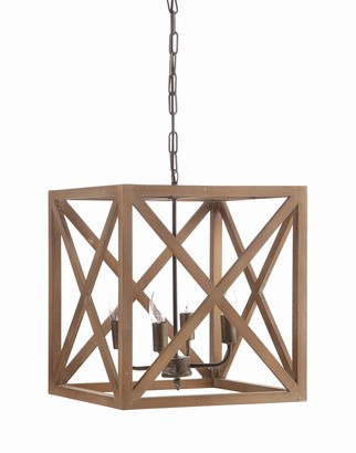 Creative Co-op DA4433 Square Wood and Metal Chandelier