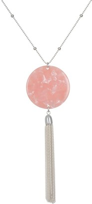 Lauren Conrad Rosy Resin Disc & Tassel Necklace