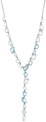 Alexis Bittar Sterling Silver Quartz & Chalcedony with Pave Diamond Y Necklace