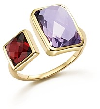 Bloomingdale's Amethyst and Garnet Square Side by Side Ring in 14K Yellow Gold - 100% Exclusive