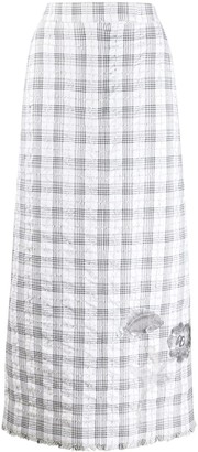 Thom Browne Checked Sequin-Detail Skirt
