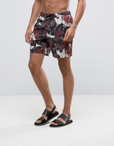 Asos Swim Shorts With Crane Floral Print In Mid Length
