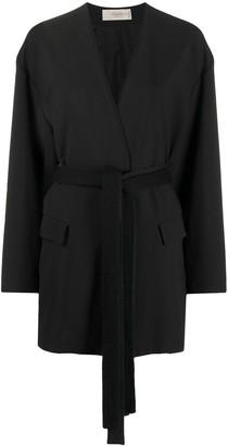 Maison Flaneur belted V-neck knit jacket