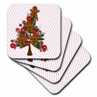 3drose 3dRose Tilted Gingerbread Man Christmas Tree, Ceramic Tile Coasters, set of 4