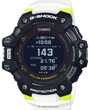 G-Shock Men's Solar Digital Connected Power Trainer White Resin Strap Watch 55mm