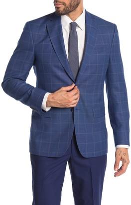 Ted Baker Jarrow Blue Windowpane Wool Two Button Notch Lapel Sport Coat