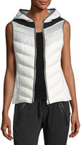 Blanc Noir Packable Quilted Moto Vest with Hood, Gray/White
