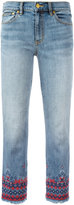 Tory Burch embroidered cropped jeans - women - Cotton/Polyester/Spandex/Elastane - 27