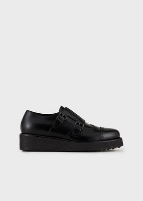 Giorgio Armani Monk Strap Shoes In Leather With A Thick Sole