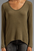 C&C California Stretch Luxe Knit Long Sleeve Hi-Lo Tee
