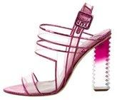Aperlaï Snakeskin-Trimmed PVC Sandals