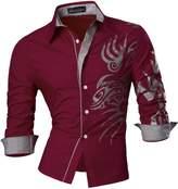 jeansian Men's Casual Slim Long Sleeve Button Down Dress Shirt Z036 Gold XXL