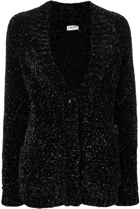 Saint Laurent Metallic V-Neck Cardigan